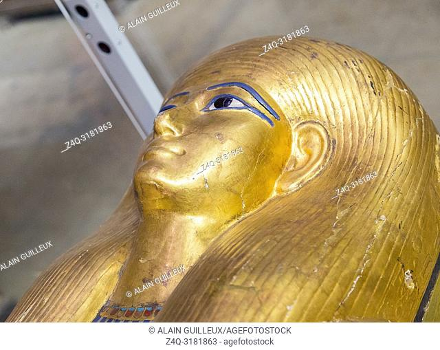 Egypt, Cairo, Egyptian Museum, from the tomb of Yuya and Thuya in Luxor : Head of the mummy-shaped inner coffin of Yuya
