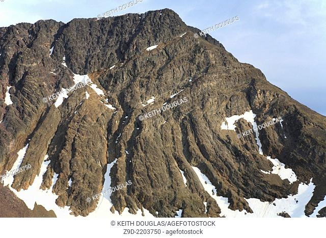Folding and layering of rock strata, West side of Hudson Bay Mountain, Smithers, British Columbia