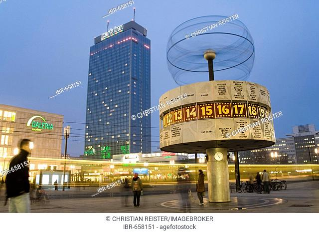 Galeria Kaufhof, Hotel Park Inn, tram and world time clock at the Alexanderplatz, Mitte, Berlin, Germany, Europe