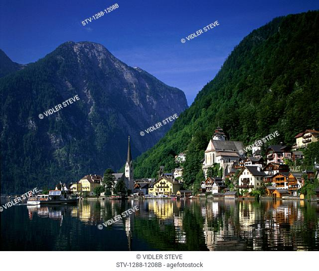 Architecture, Austria, Blue, Buildings, City, Hallstatt, Holiday, Houses, Landmark, Mountains, Reflect, Reflection, River, Roofs