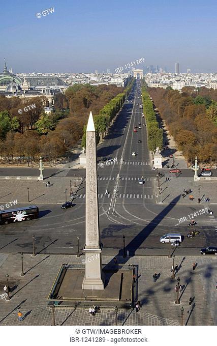View over the Obelisk of Luxor and the Champs Elysées, Place de la Concorde, Paris, France, Europe