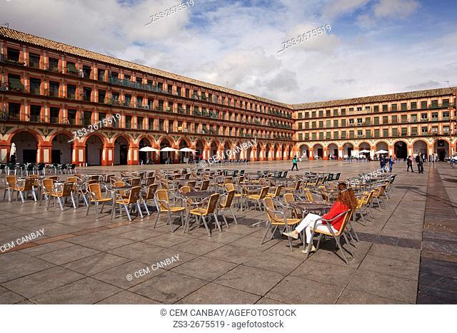 Scene from the Plaza de la Corredera Square, Cordoba, Andalucia, Spain, Europe