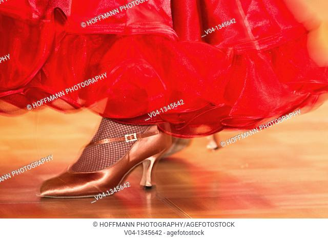 Female ballroom dancer at a dancing competition, Germany, Europe