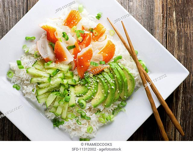 California roll salad with avocado and cucumber
