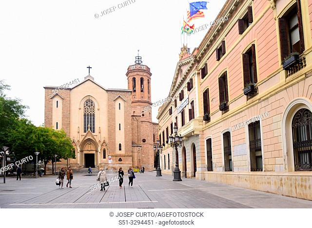 Church of Sant Felix and town hall of Sabadell, Barcelona province, Catalonia, Spain
