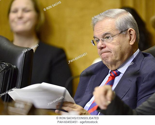 United States Senator Bob Menendez (Democrat of New Jersey) listens to testimony before the United States Senate Committee on Foreign Relations concerning...