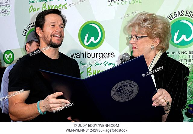 Grand Opening of Wahlburgers at Grand Bazaar Shops at Bally's Las Vegas Featuring: Mark Wahlberg, Mayor Carolyn Goodman Where: Las Vegas, Nevada