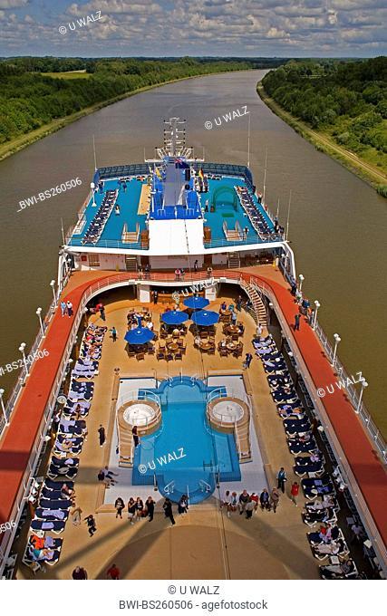 cruise liner MV Royal Princess goes on the Kiel Canal, Germany, Schleswig-Holstein