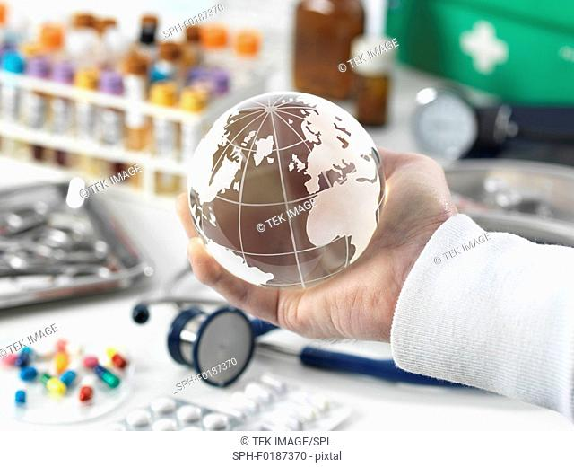 MODEL RELEASED. Global healthcare, conceptual image