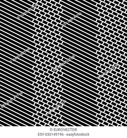 Diagonal Bricks and Stripes Black White Vector Seamless Pattern
