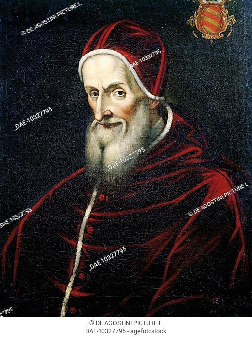 Portrait of Antonio Ghisleri (Bosco Marengo, 1504-Rome, 1572), Pope Pius V from 1566, painting.  Versailles, Château De Versailles