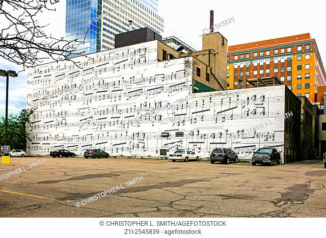 Sheet music notes paited on a wall of a building in Minneapolis MN