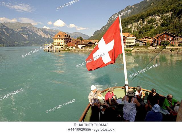 Bernese Oberland, Brienzersee, Iseltwald, canton Bern, Switzerland, Europe, ship, flag, banner, tourism, lake