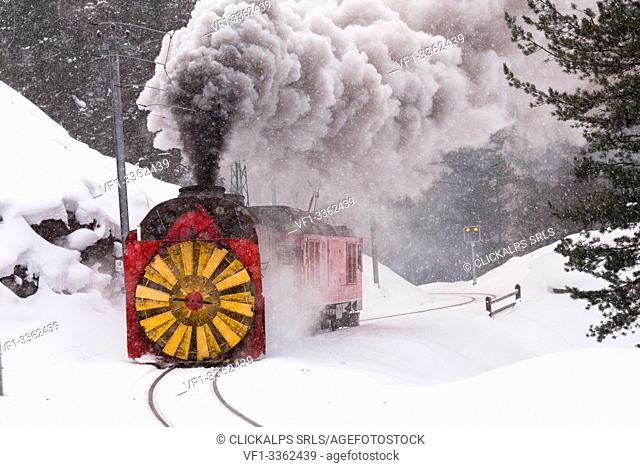 Steam of the snowplow of the Bernina Express train, Morteratsch, canton of Graubünden, Engadin Valley, Switzerland