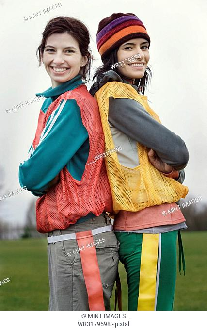 Portrait of two Caucasian women who play sports outside in the winter