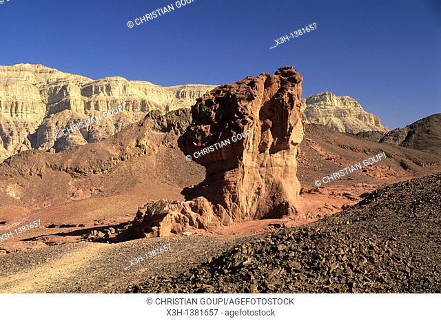 rock formation caused by wind and water erosion, Timna Valley Park, Negev, Israel, Middle East, Western Asia