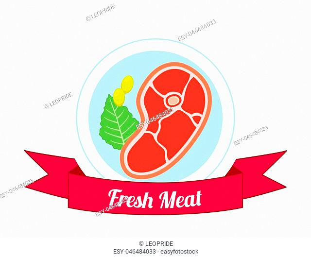 Meat logo, label for menu, restaurants, butchery shops. Fresh meat, beef, pork. Made in cartoon flat style with ribbon