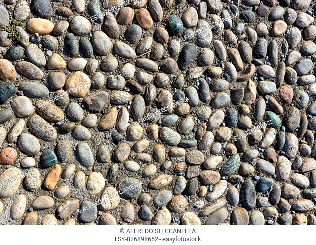 Background or texture of a cobblestone pavement