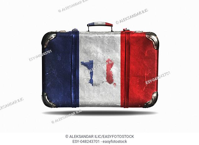 Travel Vintage Leather Suitcase With Flag Of France and French Map Isolated On White Background