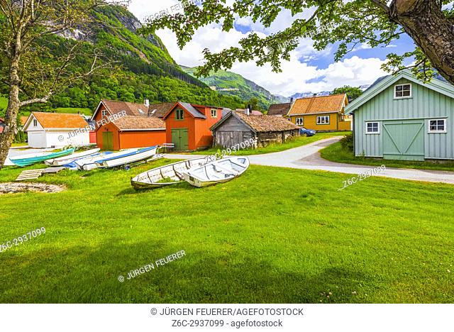 Vikori on the Sognefjorden with wooden houses and old colourful boathouses, municipality of Vik, Norway, Scandinavia