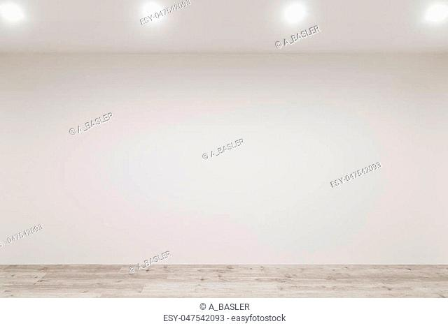 Whitewashed floating laminate flooring with newly painted white wall in background