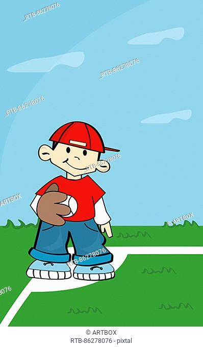 Boy wearing a baseball glove holding a baseball