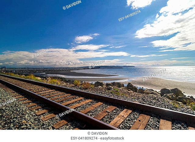 Promenade at White Rock British Columbia Canada on a beautiful sunny day
