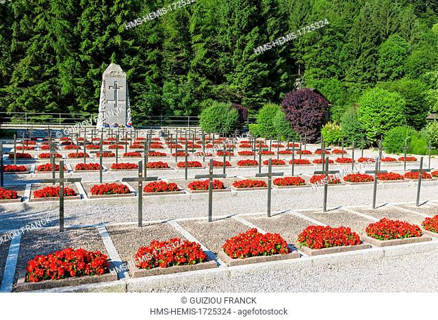 France, Haute-Savoie, Thones, National Necropolis of Glieres on the Morette site, established in April 1944 to bury 105 resistance fighters dead on the Glieres...