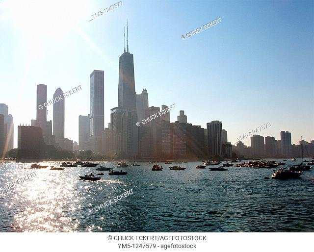 Summertime view of the Chicago Skyline with boats moored in Lake Michigan