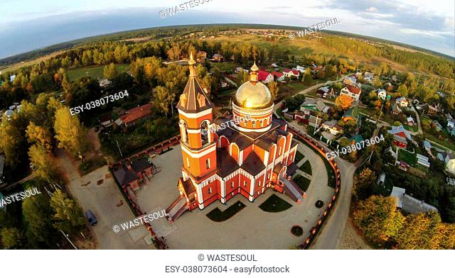 Aerial view of the Trinity church in Karabanovo near Alexandrov in Russia