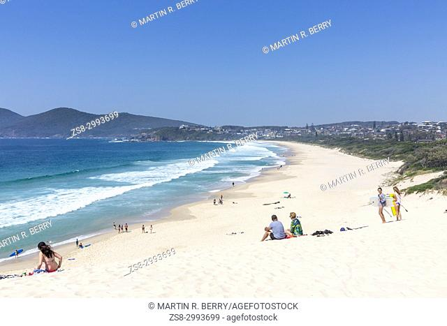One Mile beach in Forster, a popular holiday location on the mid north coast of New South Wales, Australia