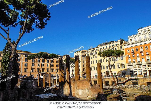 Archeological site of Largo Argentina in Rome, Lazio, Italy, Europe