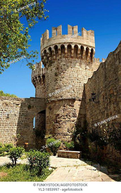 Fortifications of the 14th century medieval palace of the Grand Master of the Kinights of St John, Rhodes, Greece  UNESCO World Heritage Site