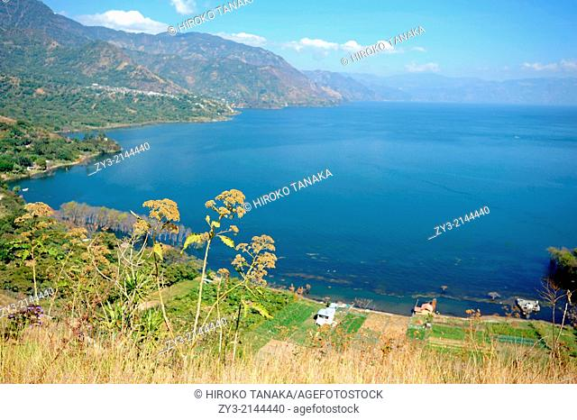 A view of Lake Atitlan from the Cross at Cerro de la Cruz in San Juan La Laguna, Solola, Guatemala