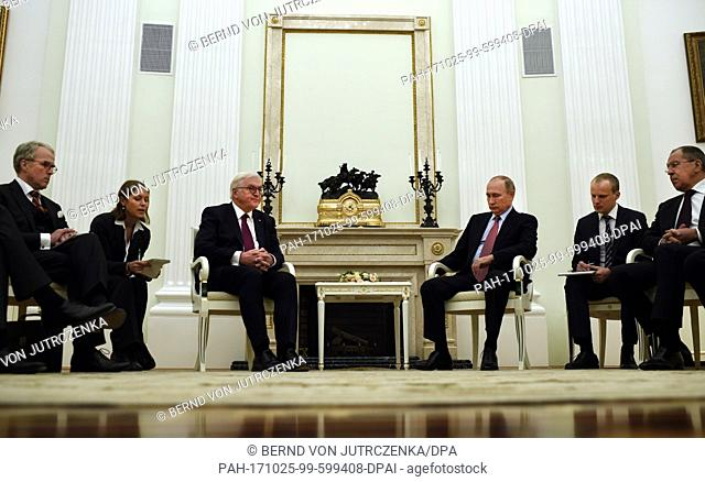 German president Frank-Walter Steinmeier (3rd from left) and Russian president Vladimir Putin (3rd from right) meeting at the Kremlin in Moscow, Russia