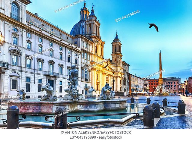 Piazza Navona in Rome, Moor Fountain view