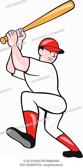 Baseball Player Batting Isolated Full Cartoon