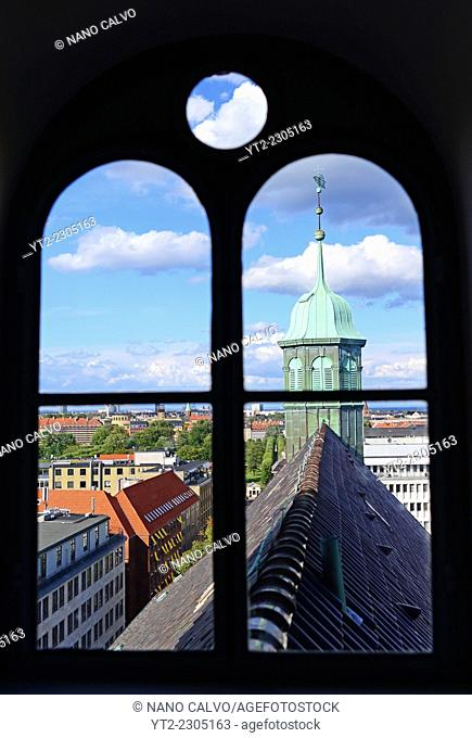 Rundetaarn, or the round tower, 17th century tower and observatory, the oldest functioning observatory in Europe, Copenhagen, Denmark