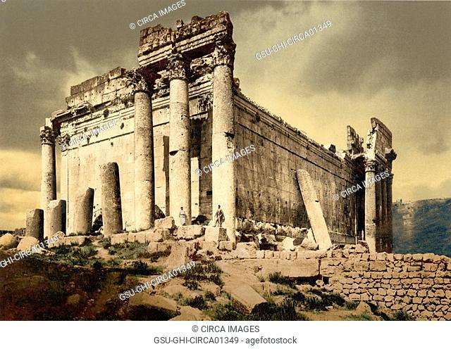 Temple of Jupiter, leaning column, Baalbek, Lebanon, Photochrome Print, circa 1900
