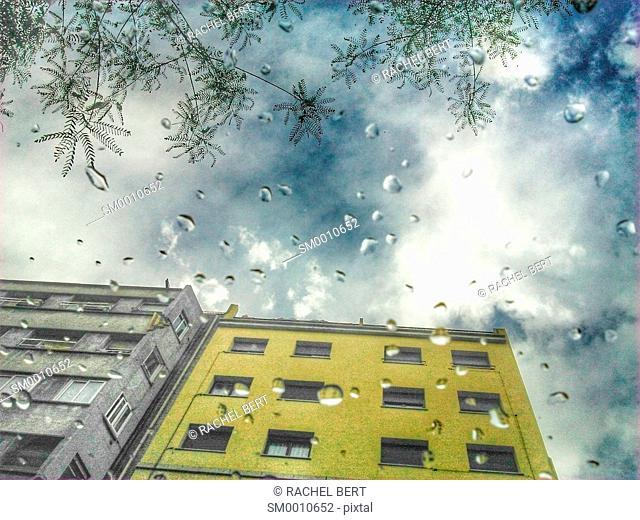 Raining, view from below, Eixample, Barcelona, Catalonia