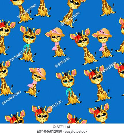 Very high quality original trendy vector seamless pattern with cute giraffe baby or calf with ribbon and hat