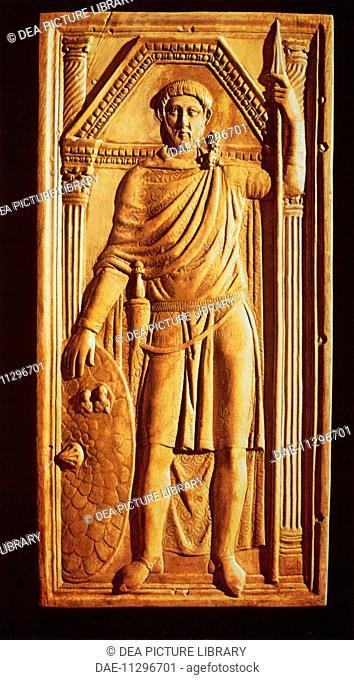 Roman civilization, 4th century A.D. Ivory diptych of Flavius Stilicho. Detail, plate depicting Stilicho