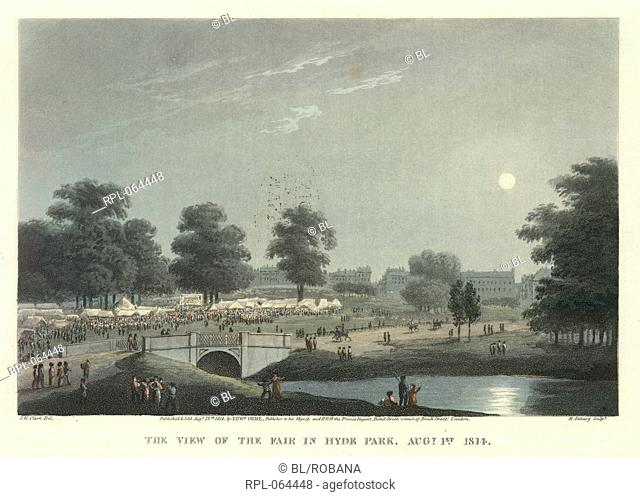 View of the fair 'The view of the fair in Hyde Park Augt. 1st 1814'. A moonlight scene. Image taken from An Historical Memento representing the different scenes...