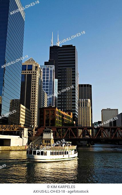Tour boat at downtown Chicago River area