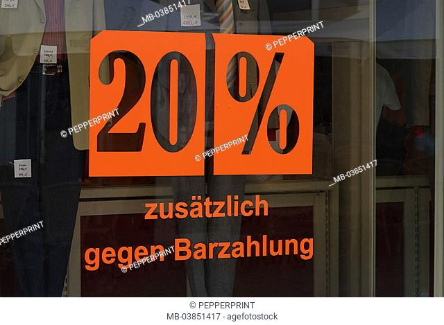 Boutique, display, clothing, display windows, pane, percent, signs, 06/2006