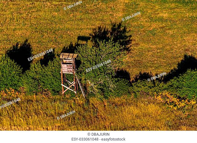 Aerial shoot of hunting lookout at sunset in Istria, Croatia