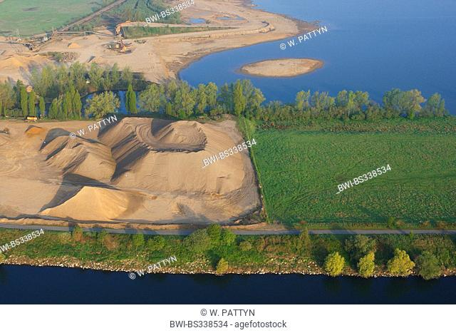 aerial view to sand pit at Grensmaas river bank , Belgium, Limburg, Meersburg
