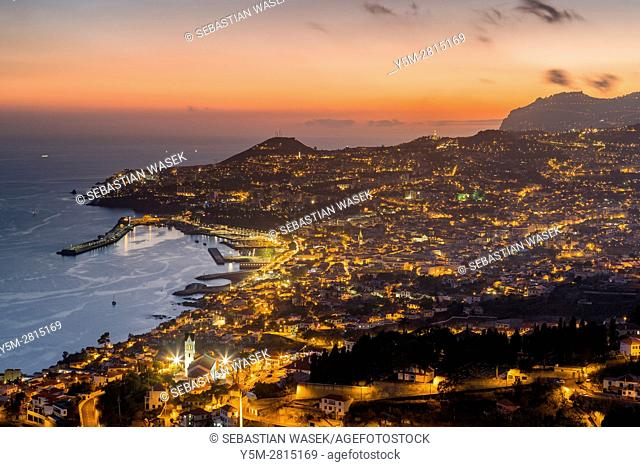 Panoramic view of Funchal at sunset from Neves viewpoint, Madeira, Portugal