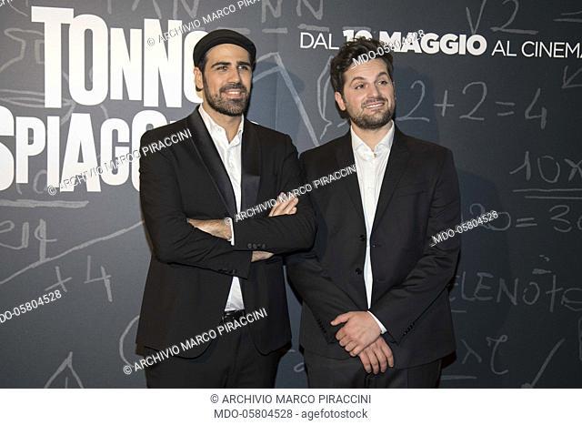The Italian actor Frank Matano (Francesco Matano) and the director Matteo Martinez at the photocall of the film Tonno Spiaggiato at the Cinema Anteo