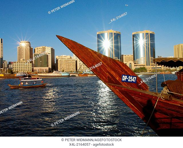 Dubai Creek, Twin Towers, traditional wooden ship, dhow, United Arab Emirates, Dubai